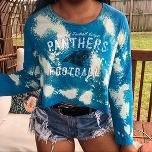 NFL Carolina Panthers Custom Bleach Splatter Top